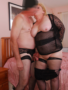 Kinky fat granny Fanny gets fucked by sissy man in black stockings & briefs