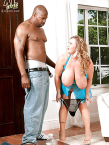 Raunchy fatty Sienna Hills massaging a black guy with her puffy hooters