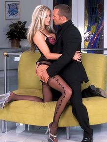 Sexy blonde Michelle B seduces her man in hot stockings and lingerie