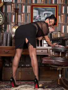 Classy mature MILF Raven Lee strips to nylons and garters in her study