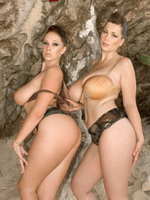 Beauties Christy Marks and Gianna Rossi play with each other's big tits