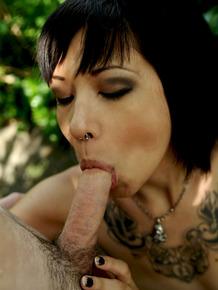 Asian MILF pornstar Coco Velvet sucks and fucks Brec Boyd in garden path