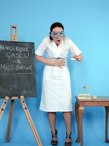 Clothed teacher finds herself standing there in nylons and garters