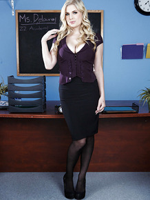 Amazingly sexy blonde teacher undressing and posing on her desk