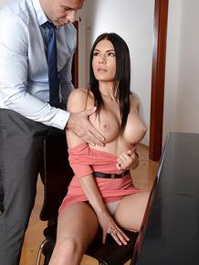 Chesty euro teacher Kitana Lure giving a large dick a blowjob