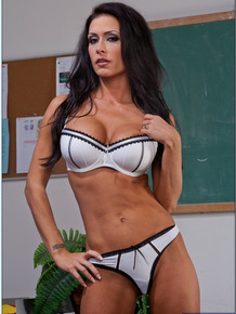 Smoking hot busty teacher Jessica Jaymes stripping in the class