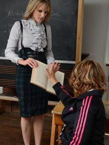 Blonde teacher Headmistress Mackenzie seducing schoolgirl Lizzie Gibson