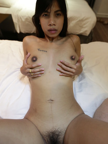 Thai babe Pear having her hairy pussy destroyed after rimming a guy