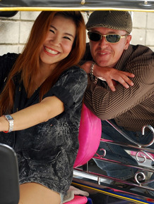 Asian cute babe Noy takes a ride with a stranger on his mini taxi
