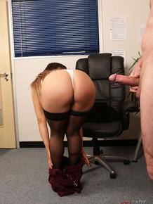 Male employee undresses and masturbates for female boss Porscha Byrne