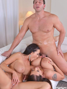 Buxom moms suck cock, lick pussy and face sit man during threesome sex