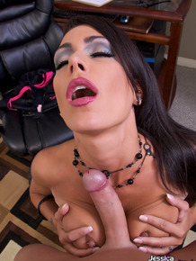 Sexy secretary Jessica Jaymes gives her horny boss a POV blowjob in the office