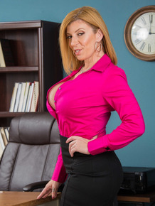 Boss lady Sara Jay exposes her big butt and tits in the comforts of her office