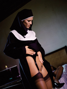 Naughty nuns shed habits for cock & cum facial blessing in illicit groupsex