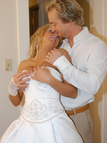 Blonde bride celebrates getting married by fucking in blue stockings