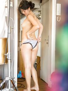Brunette amateur Gabriela A pulling underwear over ass on hidden spy cam