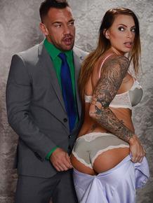 Inked bride Juelz Ventura takes an anal creampie on wedding night fuck