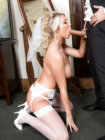 European blonde Lexi Lowe giving oral sex to big cock on wedding night
