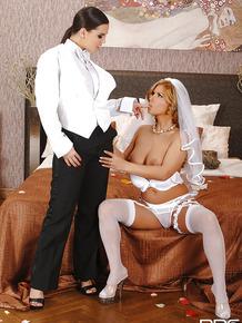 Lesbian newlyweds Dorothy Black & Eve Angel fuck with strapon on wedding night