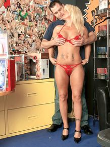 Coquettish blonde MILF was pounded and facialized by sex shop worker