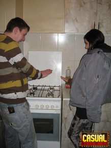 Teen lovers engage in a hard couples fuck in the kitchen