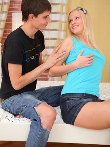 Cute blonde teen sports anal creampie after being butt fucked by a big cock