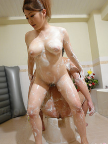Japanese masseuse Mirai Haneda pleasures a man with a soapy massage