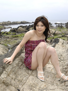 Japanese model Kurumi Katase flashes upskirt panties outdoors