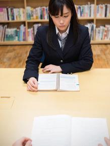 Horny Asian schoolgirl sucks and fucks a teacher's fat dick in the classroom