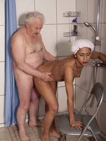 Young girl finds her step-grandfather wanting to fuck her in the shower