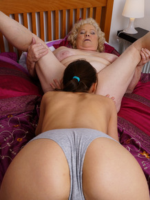 Fat granny enjoys a a pussy licking from her young lesbian companion