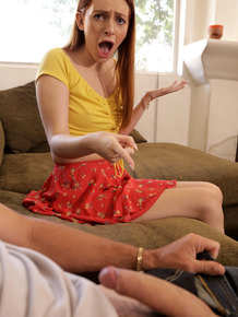Young redhead Maya Kendrick gets caught fucking stepbrother by her mom