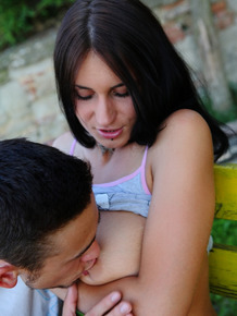 18 year old with big natural tits loses her virginity on garden bench