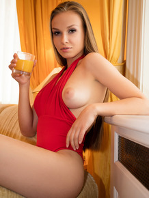 After a glass of morning OJ, Angel B is ready for some cock in that tight cunt