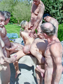 Sexy ten girl volunteers for a gangbang and blowbang with old men
