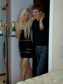 Young blonde girl sucks and fucks her date after getting drunk on wine
