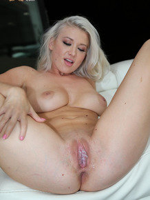 Blonde with amazing natural breasts Emily Right gets done by her black roomie