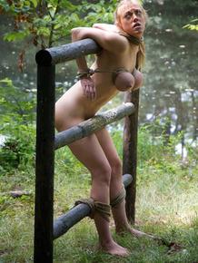 Hot teen slave bound and tortured in brutal indoor & outdoor BDSM session