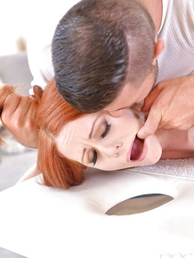 Redhead Ella Hughes gets her ass spanked during rough sex games