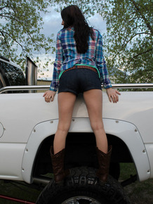 Horny 18 year old cowgirl with hot body stripping in public