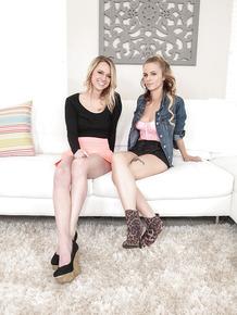 Cute teen lesbians Lilli Dixon and Molly West go girl on girl