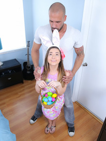 Lovely babe Bambi Brooks celebrates Easter on Latin boyfriend's boner
