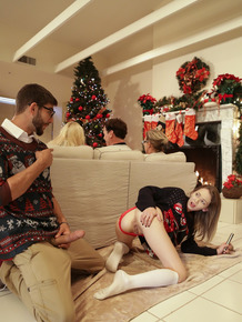 Stepsisters Kenzie Reeves & Angel Smalls fuck their adopted brother at Xmas