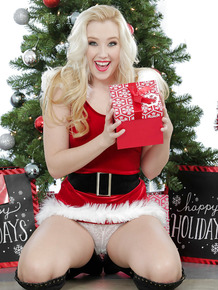 Spicy smiling teen Harley Q undresses specially for Christmas!