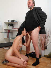 Brunette college girl bangs her professor to further her education