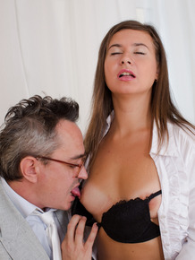 Petite college girl embarks on a sexual relationship with her old professor