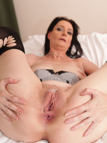 Dark haired granny Laura Dark sports a gaped anus after fucking a BBC