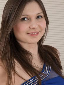 Cute teen amateur Slava Sanina plays with her naturally hairy twat