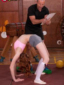 Hot teen schoolgirl Redly peels to suck coach's cock in the school gymnasium