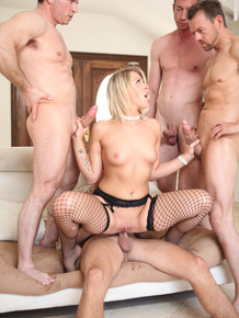 Tattooed erotic blonde Zoey Monroe gets DP & covered in cum during gangbang